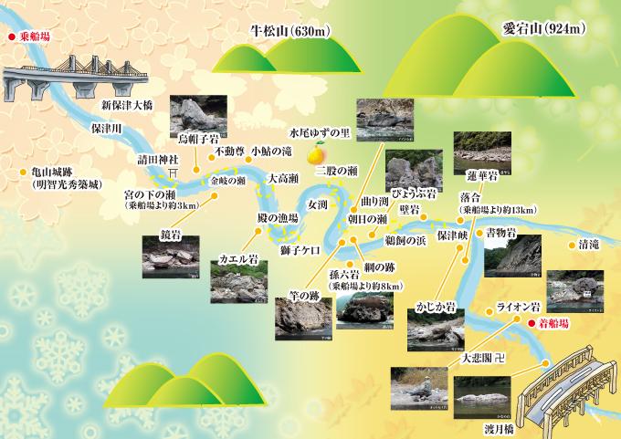 保津川下りコースマップ